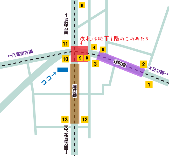 天六駅の位置関係の地図